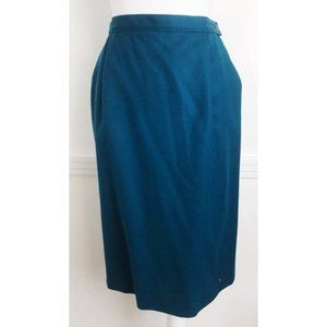 Vintage Pendleton • Teal Wool Pencil Skirt